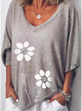 Floral Print Letter V-Neck Long Sleeves T-shirts