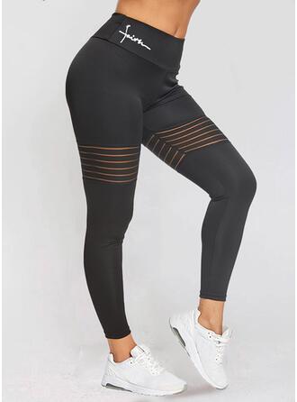 Striped Print Letter Long Sporty Plus Size Leggings