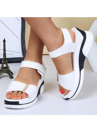 Women's PU Wedge Heel Sandals Platform Peep Toe With Velcro Solid Color shoes