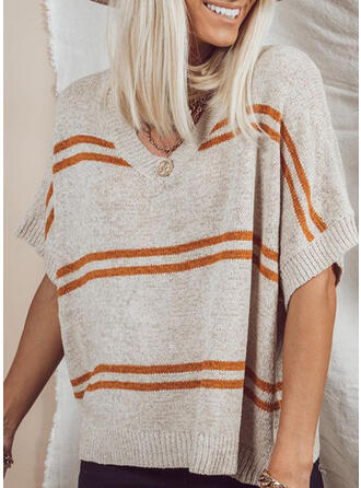 Striped V-Neck Casual Knit Tops