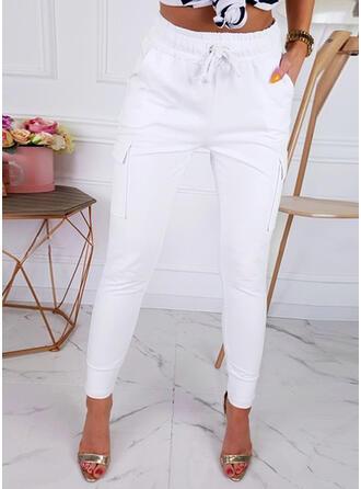 Pockets Drawstring Skinny Solid Pants