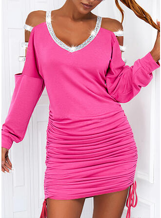 Solid Sequins Long Sleeves Cold Shoulder Sleeve Sheath Above Knee Casual Dresses