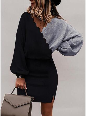 Color Block Long Sleeves Bat Sleeve Bodycon Above Knee Elegant Dresses