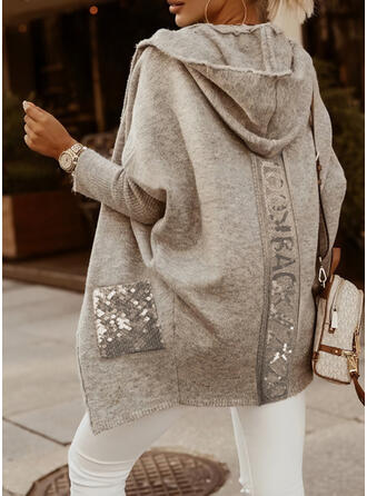 Solid Pocket Sequins Hooded Casual Cardigan