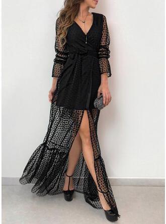 Long Sleeves Petal Sleeve Sexy/Party Maxi Dresses