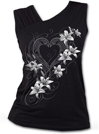 Floral Heart Print V-Neck Sleeveless Tank Tops