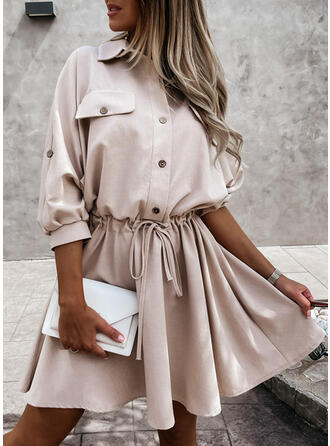 Solid 3/4 Sleeves A-line Above Knee Casual Skater Dresses