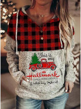 Print Grid Pockets Letter Long Sleeves Christmas Sweatshirt