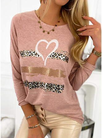 Leopard Heart Print Letter Round Neck Long Sleeves T-shirts