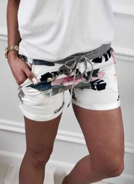 Print Drawstring Casual Print Shorts