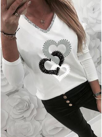 Heart Print Sequins V-Neck Long Sleeves T-shirts