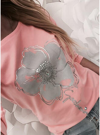 Floral Print Letter Round Neck Long Sleeves T-shirts