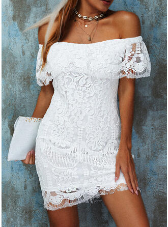 Solid Lace Short Sleeves Bodycon Above Knee Elegant Dresses