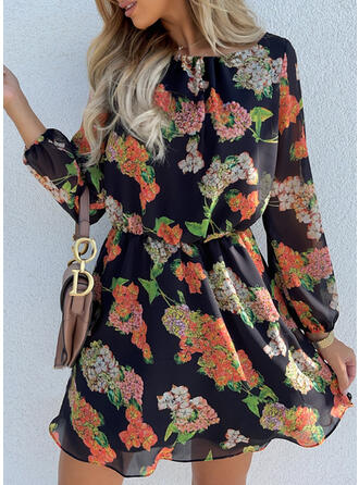 Floral Long Sleeves Above Knee Vacation Dresses