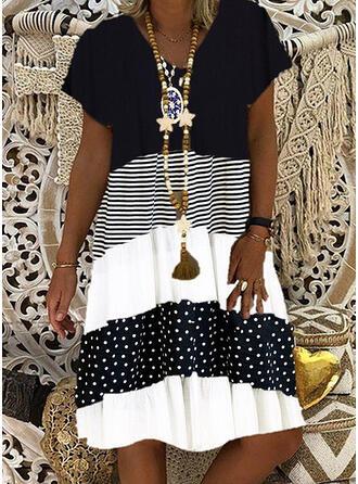 Color Block/PolkaDot/Striped Short Sleeves Shift Knee Length Casual T-shirt Dresses
