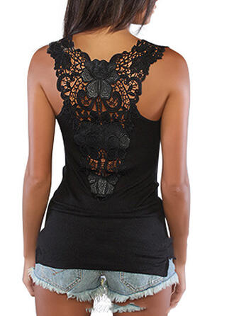 Lace Solid Round Neck Sleeveless Tank Tops