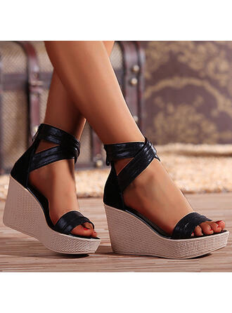 Women's Microfiber Leather Wedge Heel Sandals Platform Wedges Peep Toe With Zipper Hollow-out shoes