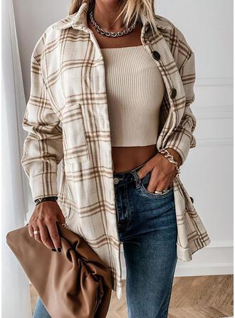 Long Sleeves Plaid Wide-Waisted Coats