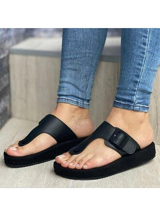 Women's PU Flat Heel Sandals Platform Peep Toe Slippers With Buckle Solid Color shoes
