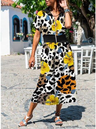 Floral Short Sleeves A-line Casual Maxi Dresses