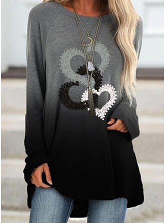 Print Gradient Heart Round Neck Long Sleeves Sweatshirt