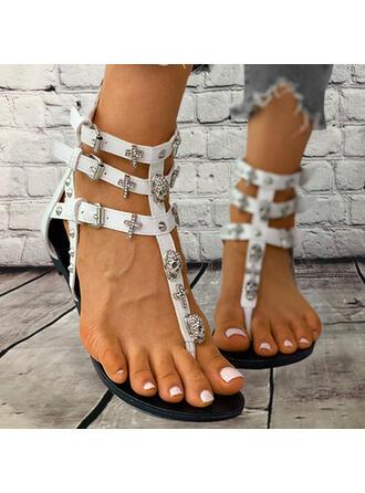 Women's PU Flat Heel Sandals Flip-Flops With Rhinestone Rivet Zipper shoes