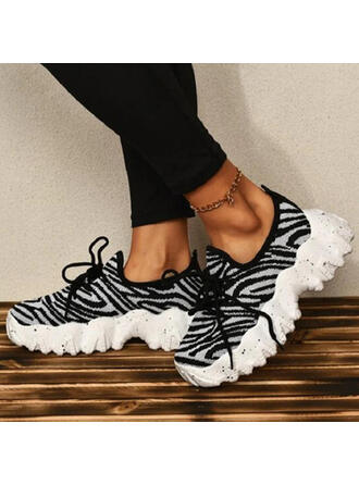 Women's Mesh Flat Heel Flats Low Top Sneakers With Animal Print Lace-up shoes