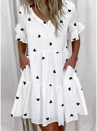 Print/Heart Short Sleeves/Flare Sleeves Shift Above Knee Casual Tunic Dresses