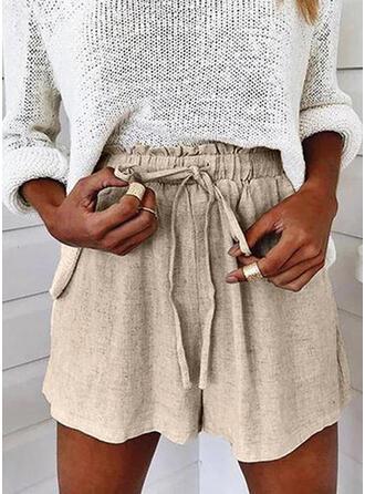 Solid Drawstring Casual Plain Shorts