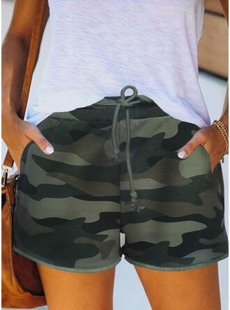Camouflage Drawstring Casual Print Shorts