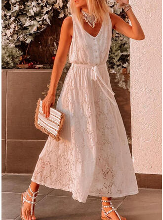Solid Lace V-Neck Sleeveless Casual Vacation Jumpsuit
