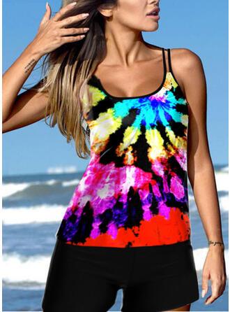 Colorful Neon Strap U-Neck Eye-catching Novelty Tankinis Swimsuits