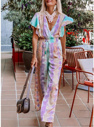 Tie Dye V-Neck Short Sleeves Casual Vacation Jumpsuit