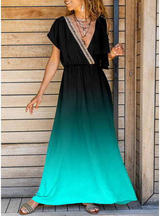 Gradient Short Sleeves A-line Vacation Maxi Dresses