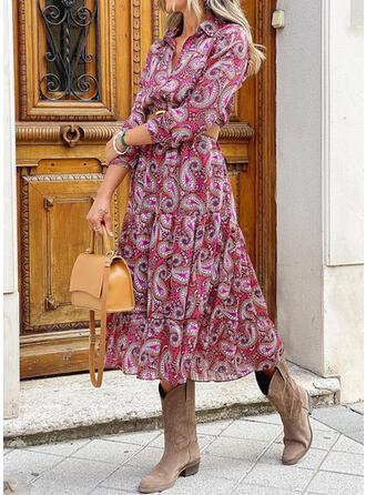 Print Long Sleeves A-line Vacation Maxi Dresses