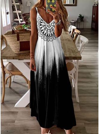 Print/Gradient Sleeveless A-line Slip/Skater Casual/Vacation Maxi Dresses