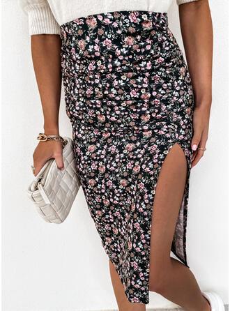 Polyester Print Knee Length Bodycon Skirts