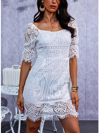 Solid Short Sleeves Puff Sleeve Sheath Above Knee Casual Dresses
