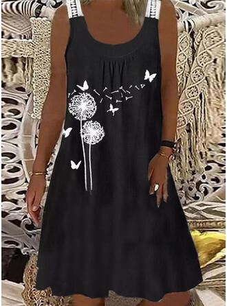 Lace/Animal Print Sleeveless Shift Knee Length Casual Dresses
