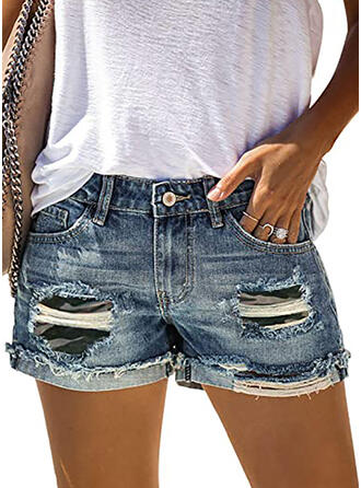 Ripped Camouflage Casual Vintage Shorts Denim & Jeans