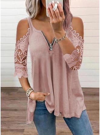 Solid Lace Cold Shoulder 3/4 Sleeves Elegant Knit Blouses