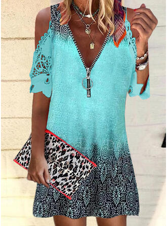Lace/Print 1/2 Sleeves Shift Above Knee Casual/Vacation Tunic Dresses