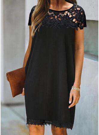 Lace/Solid Short Sleeves Shift Knee Length Little Black/Elegant Dresses