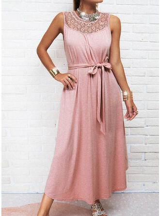 Solid Lace Sleeveless A-line Skater Casual Maxi Dresses