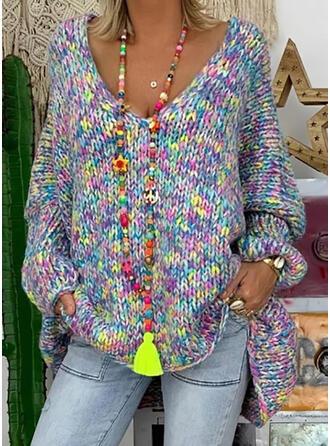 Tie Dye V-Neck Casual Sweaters
