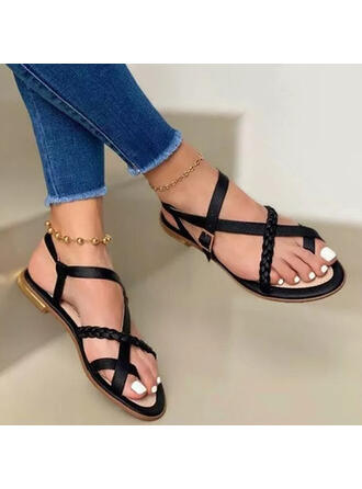 Women's PU Flat Heel Sandals Peep Toe With Buckle Solid Color shoes