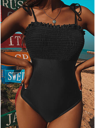 Solid Color Ruffles Knotted Strap U-Neck Detachable Elegant Casual One-piece Swimsuits