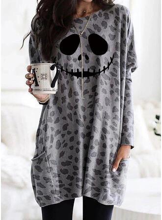 Print Leopard Halloween Pockets Round Neck Long Sleeves Sweatshirt