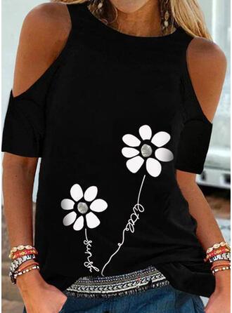 Print Floral Letter Cold Shoulder Short Sleeves Casual Blouses