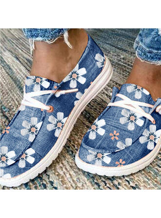 Women's Canvas Flat Heel Flats Low Top Loafers With Lace-up Print shoes